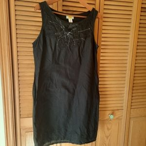 H.O.G. Black Linen Mixed Embroidered Black Dress